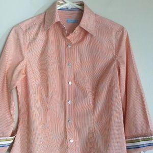J.McLaughlin Button Down Stripped Cotton Blouse